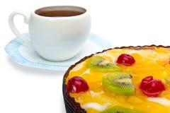 Fruta de la empanada con requesón y la taza Fotografía de archivo