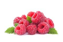 Fruta de la frambuesa con la hoja Fotos de archivo