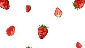 Fruta de la fresa que cae en la colocación
