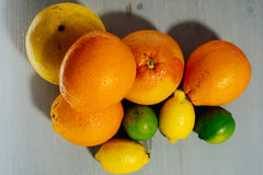 Fruta de la fruta cítrica, naranja, cal, limón, pomelo, pomelo Fotos de archivo