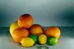 Fruta de la fruta cítrica, naranja, cal, limón, pomelo, pomelo Foto de archivo libre de regalías