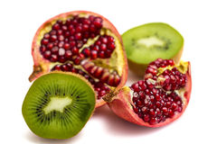 Fruta de la granada y de kiwi Fotografía de archivo
