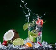 Fruta de la mezcla con el chapoteo del agua Fotografía de archivo