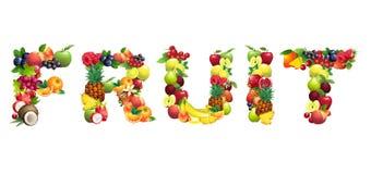FRUTA de la palabra integrada por diversas frutas con libre illustration