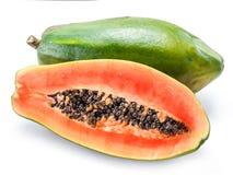 Fruta de la papaya aislada en un fondo blanco foto de archivo libre de regalías