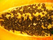 Fruta de la papaya con las semillas foto de archivo