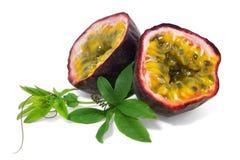 Fruta de pasión madura con las hojas Imagenes de archivo