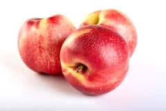 Fruta de tres nectarinas aislada en blanco imágenes de archivo libres de regalías