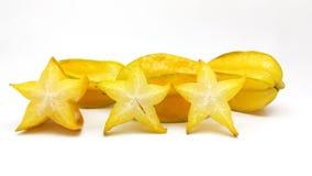 Fruta del Carambola con las rebanadas Imagenes de archivo