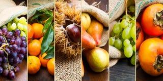 Fruta del collage en bolsos del yute Imagen de archivo