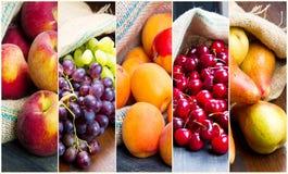 Fruta del collage en bolsos del yute Fotografía de archivo