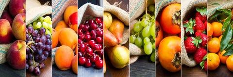 Fruta del collage en bolsos del yute Fotos de archivo