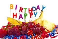 Fruta del feliz cumpleaños Fotografía de archivo libre de regalías