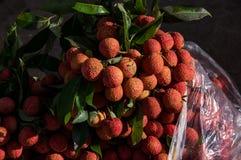 Fruta del lichí para el comercio, venta, diseño fotografía de archivo