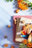 Fruta del otoño de la escuela de la parte posterior del concepto de los libros de los lápices Imagen de archivo