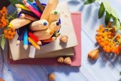 Fruta del otoño de la escuela de la parte posterior del concepto de los libros de los lápices Foto de archivo libre de regalías