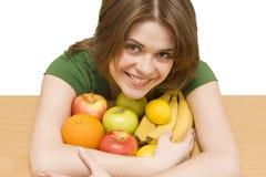 Fruta del whith de la muchacha Imagen de archivo