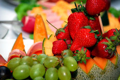 Fruta e carne Fotografia de Stock Royalty Free
