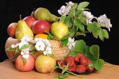 Fruta e flores. Imagem de Stock