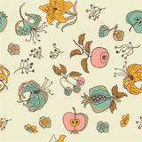 Fruta e fundo floral Imagens de Stock Royalty Free
