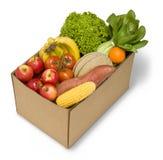 Fruta e verdura encaixotada