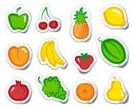 Fruta en etiquetas engomadas Imagen de archivo libre de regalías