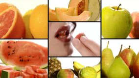 Fruta en un collage blanco del fondo