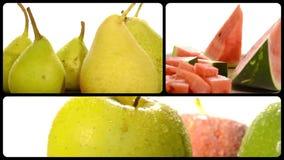 Fruta en un collage blanco del fondo almacen de metraje de vídeo