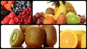 Fruta en un collage blanco del fondo almacen de video