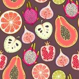 Fruta exótica inconsútil Imagen de archivo libre de regalías