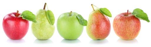 Fruta fresca de las peras de las manzanas de las frutas de la pera de Apple en fila encendido Imagen de archivo libre de regalías