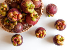 Fruta fresca de los mangostanes Imágenes de archivo libres de regalías