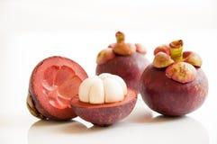 Fruta fresca de los mangostanes Imagen de archivo
