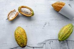 Fruta fresca del cacao imagenes de archivo