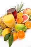 Fruta fresca y jugo Imagen de archivo libre de regalías