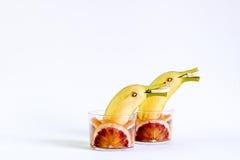 Fruta, fruta con los delfínes, jugando con la fruta Imagen de archivo