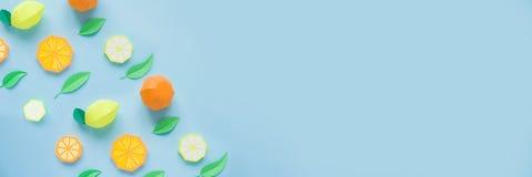Fruta hecha del papel Fondo para una tarjeta de la invitación o una enhorabuena Allí sitio del ` s para escribir tropics Endecha  fotos de archivo libres de regalías