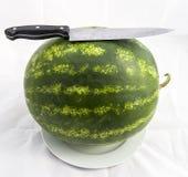 Fruta imprescindible de la sandía de los meses del verano, esperándole que se cortará con un cuchillo Foto de archivo libre de regalías