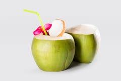 Fruta joven verde fresca de los cocos de los cocos Imagen de archivo