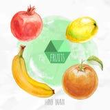 Fruta, limón, plátano y granada anaranjados pintados a mano de la acuarela Foto de archivo libre de regalías