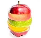 Fruta mezclada - Apple, rebanadas anaranjadas Imagen de archivo