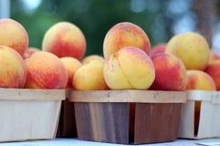Fruta orgánica del melocotón en cesta de madera Imágenes de archivo libres de regalías
