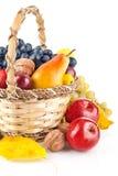 Fruta outonal na cesta Foto de Stock Royalty Free