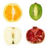 Fruta partida en dos cuatro Imagenes de archivo