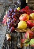 Fruta-pedazo del otoño con las frutas y el vino rojo Imagen de archivo libre de regalías