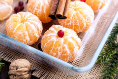 Fruta pelada de la Navidad de los mandarines Fotografía de archivo