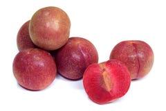 Fruta roja del ciruelo aislada en el fondo blanco Fotografía de archivo libre de regalías