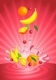 Fruta sabrosa en yogur Imagen de archivo