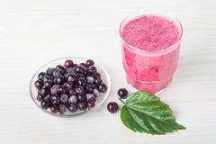 Fruta triturada sana con el yogur Dri mezclado de la grosella negra de las bayas Fotografía de archivo