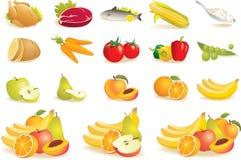 Fruta, vegetais, carne, ícones do milho Fotografia de Stock